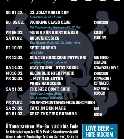 Jolly Roger Programm – Februar 2015