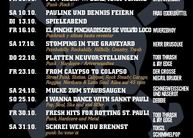 Jolly Roger Programm – Oktober 2015